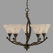 Toltec Lighting Bow 5 Light Up Chandelier with Crystal Glass; Black Copper