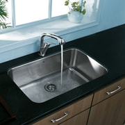 Vigo 30 inch Undermount Single Bowl 18 Gauge Stainless Steel Kitchen Sink; No