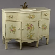 AA Importing 44'' Single Painted Floral Style Bathroom Vanity Set