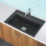 Astracast 33'' x 22'' Workcenter Granite ROK Single Bowl Kitchen Sink; Metallic Black