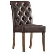 Kingstown Home Satine Tufted Side Chair (Set of 2); Brown Bonded Leather