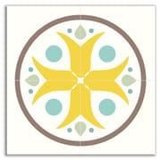 Oscar & Izzy Organic Origins 8-1/2'' x 8-1/2'' Satin Decorative Tile Quad in Misty Bloom