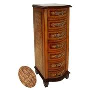 Cheungs Wooden Fleur De Lis Print 7 Drawer Cabinet