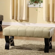 Armen Living Central Park Leather Ottoman; Cream