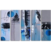 Omax Decor Hand Painted ''Moon'' 5 Piece on Canvas Set in Blue