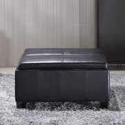 NOYA USA Elegant Leather Storage Ottoman; Black