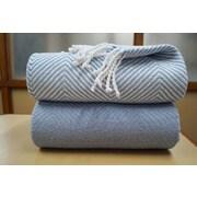 Affinity Linens Elegancia 2 Piece Cotton Chevron Throw Blanket Set; Blue