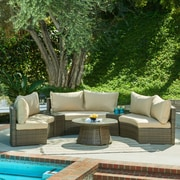 The-Hom Heritage 6 Piece Seating Group with Cushions; Dark Brown