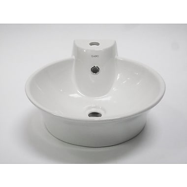 EAGO Above Mount Round Vessel Bathroom Sink w/ Single Faucet Hole