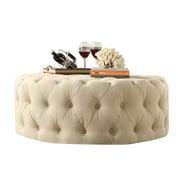 Kingstown Home Carthusia Round Tufted Cocktail Ottoman; Beige
