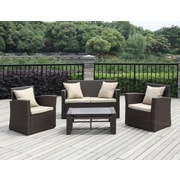 Handy Living La Jolla 4 Piece Deep Seating Group with Cushions; Beige