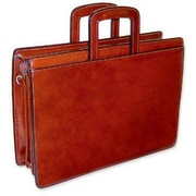 Jack Georges Sienna Triple Gusset Leather Briefcase; Cognac
