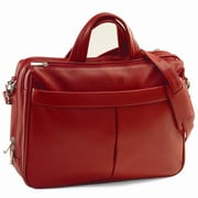 Royce Leather Genuine Leather Laptop Shoulder Bag Briefcase; Red