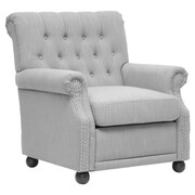 Wholesale Interiors Baxton Studio Chair; Light Gray Linen