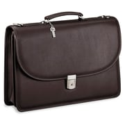 Jack Georges Platinum Double Gusset Leather Briefcase; Brown