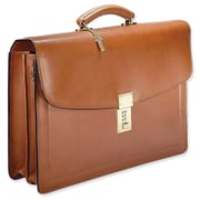 Jack Georges Belting Double Gusset Leather Briefcase; Tan