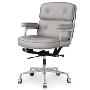 Meelano Mid-Back Leather Office Chair; Grey