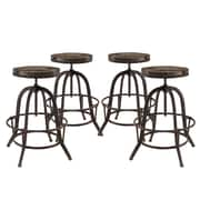 Modway Collect Adjustable Height Bar Stool (Set of 4); Brown