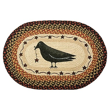 EarthRugs Crow & Star Printed Area Rug; Oval 1'8'' x 2'6''
