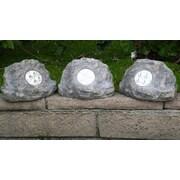 Homebrite Solar Solar Power Jumbo Rock Spot Light (Set of 3); Grey