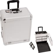 Sunrise Cases Dot Pattern Interchangeable Professional Rolling Makeup Train Case; Silver