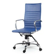 Winport Industries High-Back Leather Swivel Executive Chair; Blue