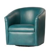 Comfort Pointe Draper Swivel Barrel Chair; Dark teal
