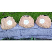 Homebrite Solar Solar Power Jumbo Rock Spot Light (Set of 3); Sandstone