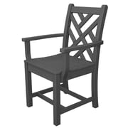 POLYWOOD  Chippendale Dining Arm Chair; Slate Grey