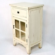 Heather Ann Wooden Cabinet with Glass Insert; Antique White