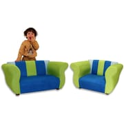 Keet Kid's Fancy Microsuede Sofa and Chair Set; Blue / Green