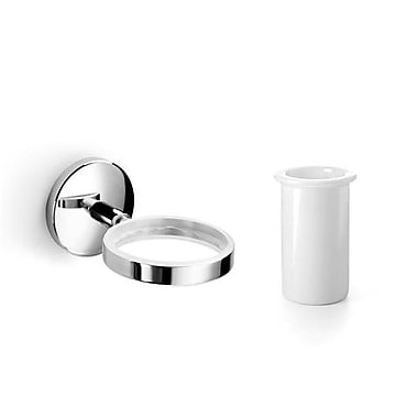 WS Bath Collections Noanta Toothbrush Holder & Tumbler; Polished Chrome / Ceramic White