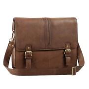 Aston Leather Messenger Bag; Brown