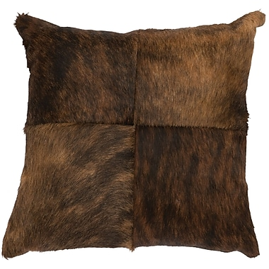 Wooded River Hair on Hide Leather Throw Pillow