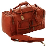 Claire Chase Executive Sports 17'' Leather Travel Duffel; Saddle