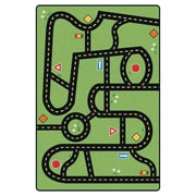 Carpets for Kids Printed Drive and Play Green Area Rug; 3' x 4'6''