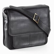 Clava Leather Vachetta Executive Laptop Sling Laptop Briefcase; Black