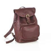 Aston Leather Backpack with Zippered Pocket; Brown