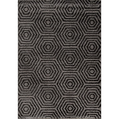 Kalora Boulevard Glitz Low Pile Dark Grey Geometric Area Rug; 7'10'' x 10'10''