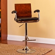 AC Pacific Modern Wood Adjustable Height Swivel Bar Stool with Cushion