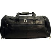 David King 20.5'' Leather Multi Pocket Travel Duffel; Black