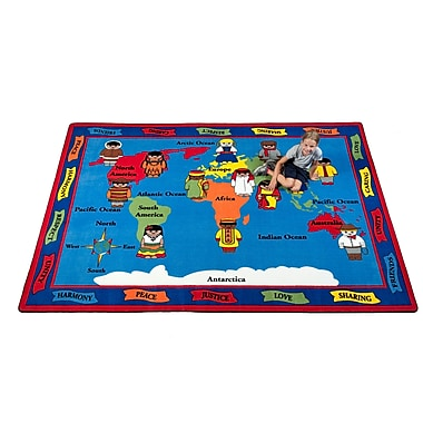 Kid Carpet Our World of Peace Globe Blue Area Rug; 7'6'' x 12'