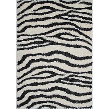 Kalora Shaggy Zebra Area Rug; 5'3'' x 7'7''