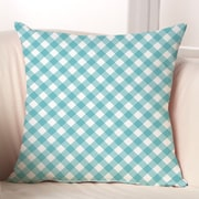 Checkerboard Gingham Throw Pillow; Sky Blue