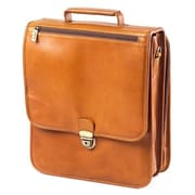 Clava Leather Tuscan Upright Vertical Leather Laptop Briefcase; TAN
