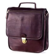 Clava Leather Tuscan Upright Vertical Leather Laptop Briefcase; Brown