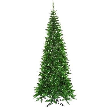 Vickerman 9' Tinsel Green Slim Fir Artificial Christmas Tree w/ 700 Mini Lights