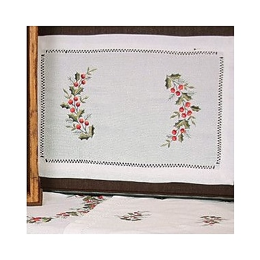 Xia Home Fashions Holly Berry Embroidered Hemstitch Holiday Placemat (Set of 4)