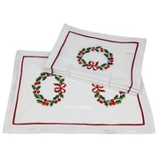 Xia Home Fashions Country Wreath Embroidered Hemstitch Holiday Placemat (Set of 4)