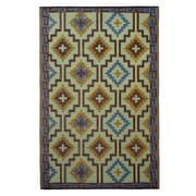 Fab Rugs World Lhasa Royal Blue/Chocolate Brown Indoor/Outdoor Area Rug; 6' x 9'